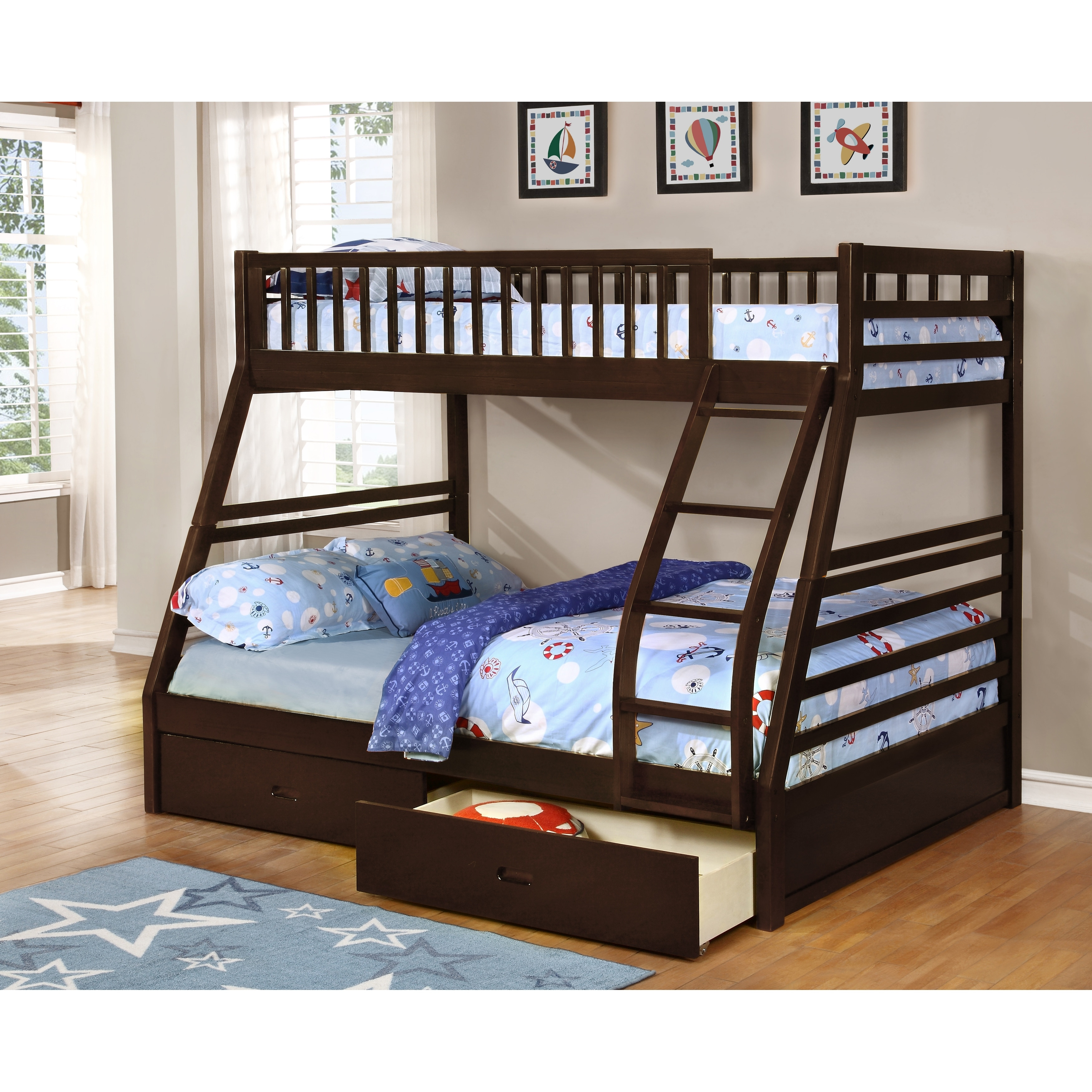 Ephram Convertible Twin Over Full Bunk Bed Optional Storage Trundle Overstock 11590601