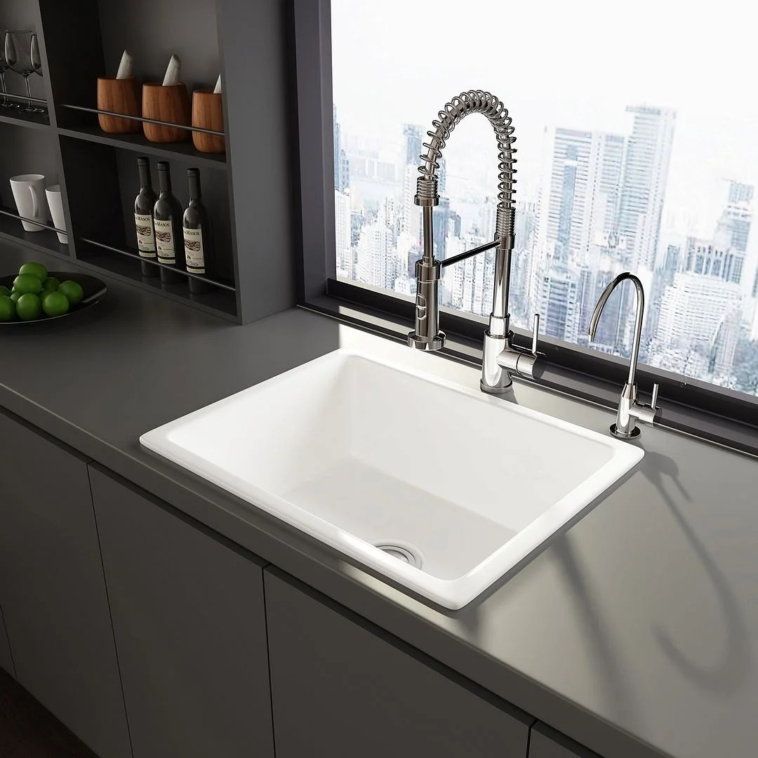 eridanus rio 24 inch fireclay drop in kitchen sink
