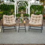 Shop Black Friday Deals On 3 Piece Outdoor Rattan Papasan Chairs And Side Table Set Overstock 21117621