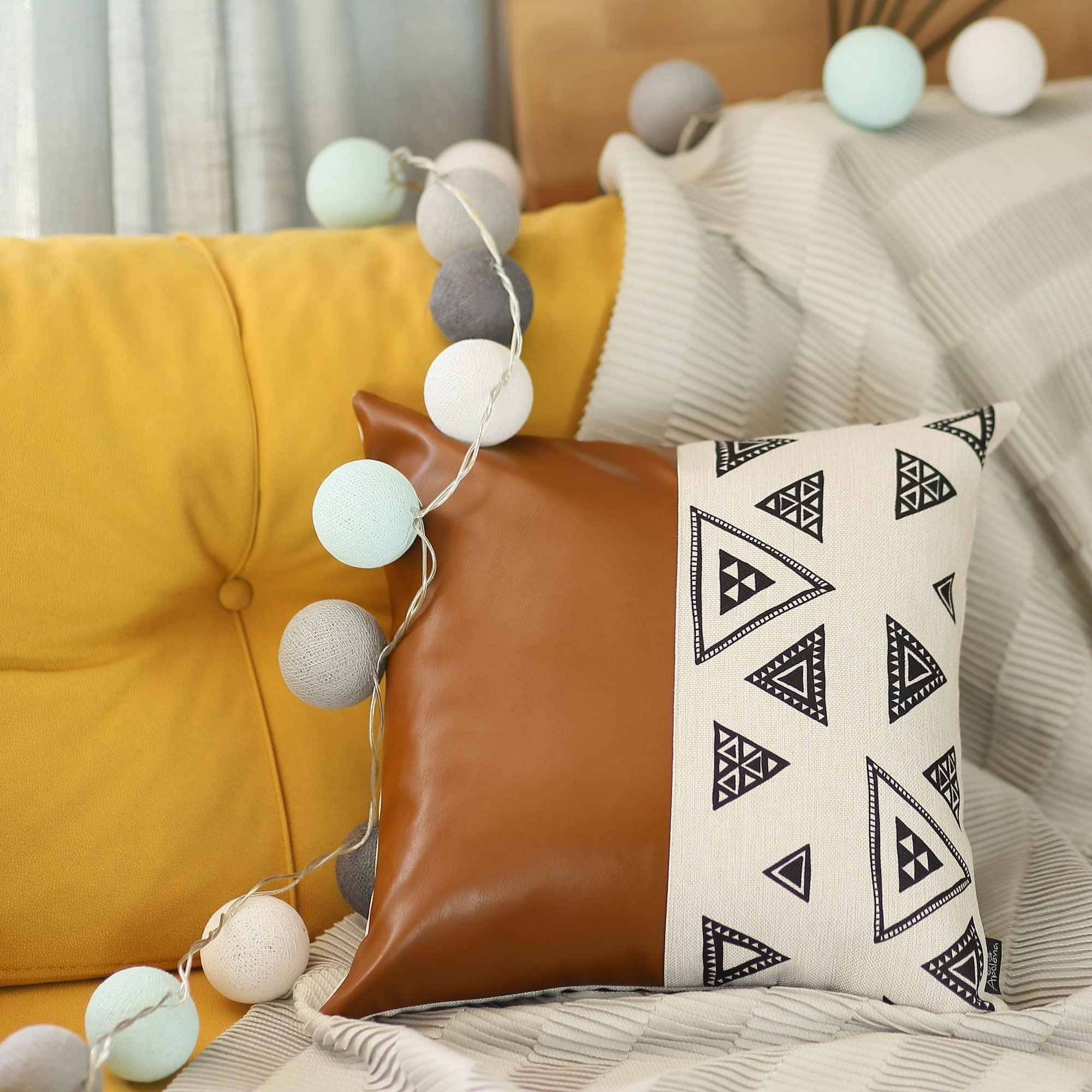 the curated nomad baywood decorative faux leather pillow cover