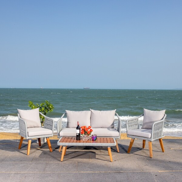 Shop Safavieh Outdoor Raldin Grey Rope 4-Piece Patio Set ... on Safavieh Raldin  id=30569