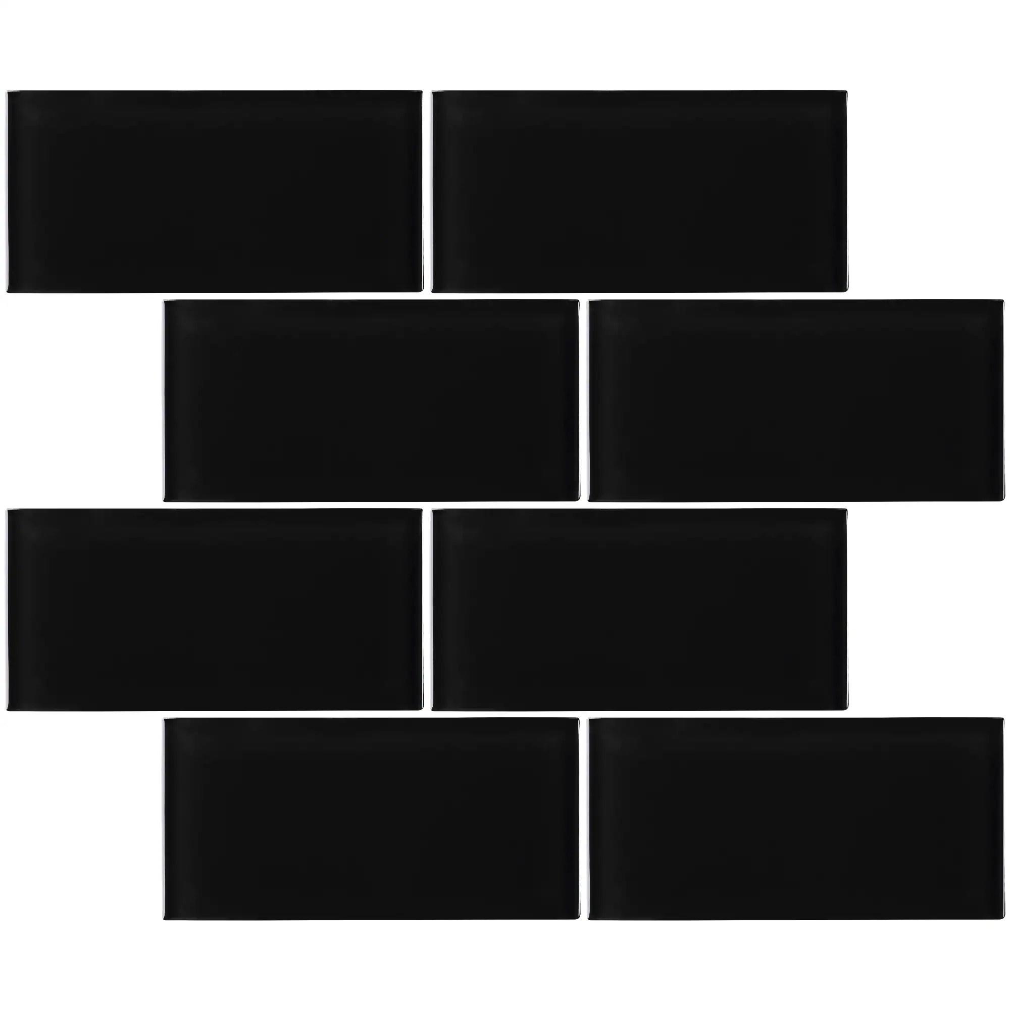 tilegen 3 x 6 glass subway tile in black wall tile 80 tiles 10sqft