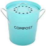 Spigo Steel Kitchen Compost Bin With Vented Charcoal Filter And Bucket Turquoise 1 Gallon Overstock 30681086