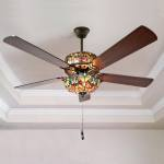 Shop Black Friday Deals On Tiffany Style Stained Glass Halston Ceiling Fan Spice 52 L X 52 W X 19 H 52 L X 52 W X 19 H On Sale Overstock
