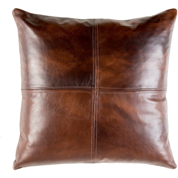 mohan leather dark brown feather down or poly filled throw pillow 20 inch