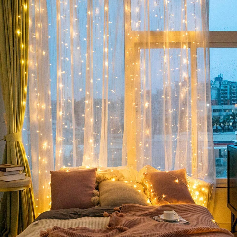 300 led window curtain string lights ip65 waterproof decorative fairy twinkle lights usb powered 9 8 x 9 8ft