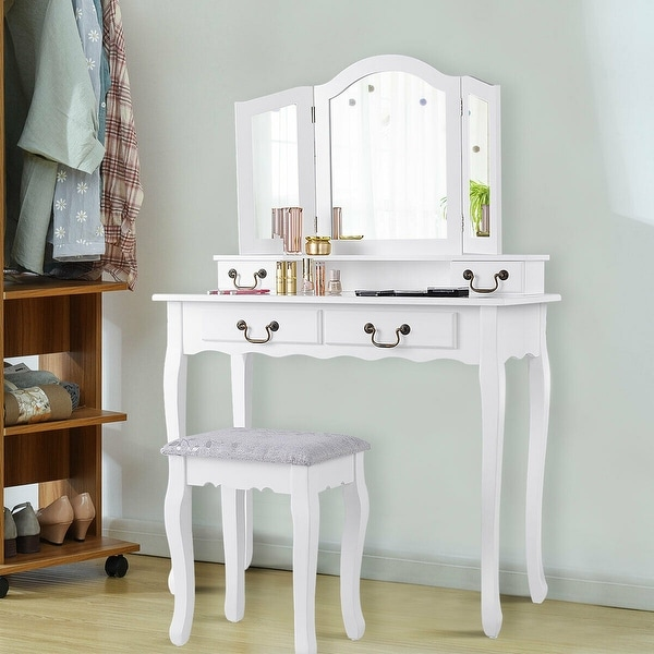 Shop Gymax 4 Drawers Vanity Set Dressing Table W Tri Folding Mirror White On Sale Overstock 23169748