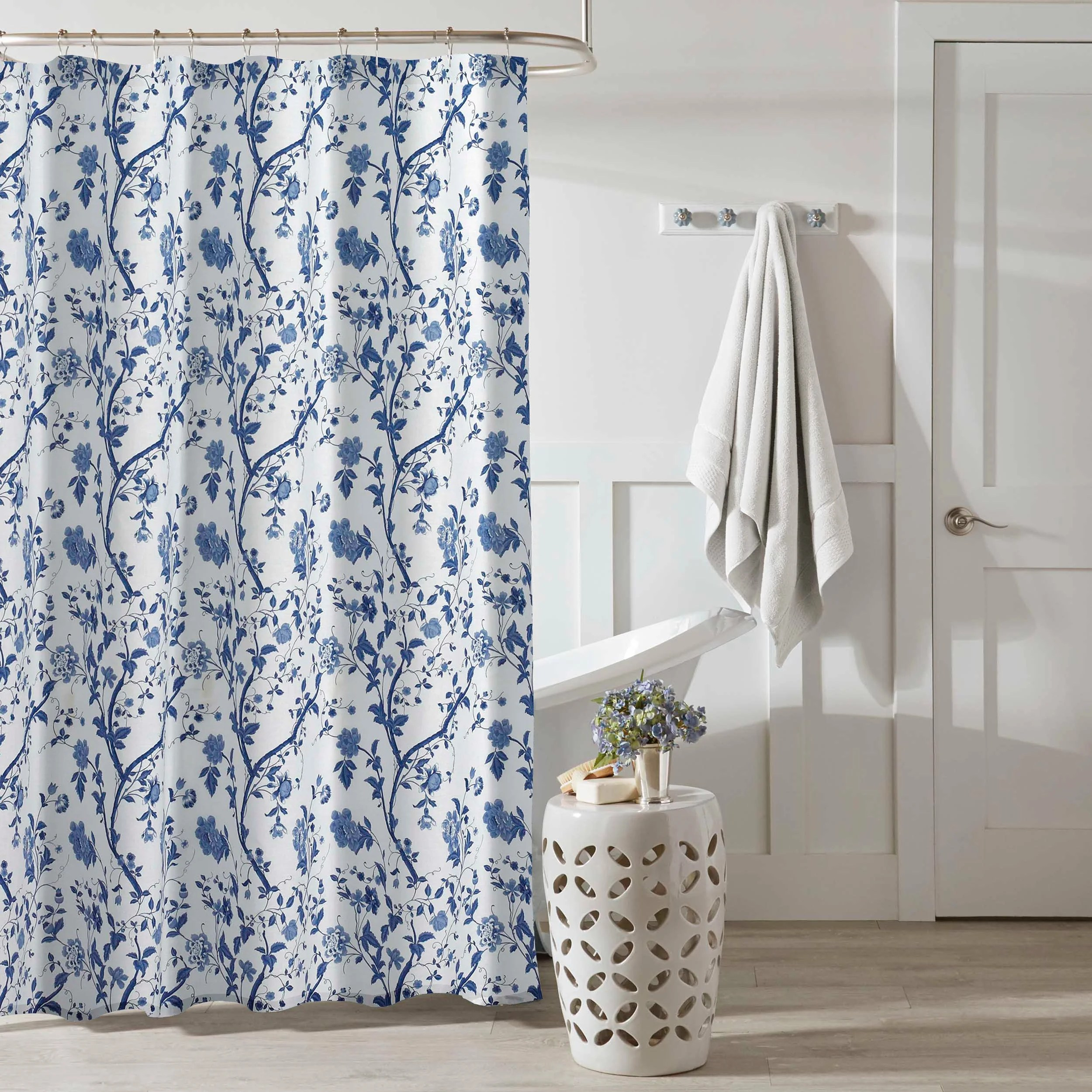 laura ashley charlotte blue floral shower curtain 72 x 72