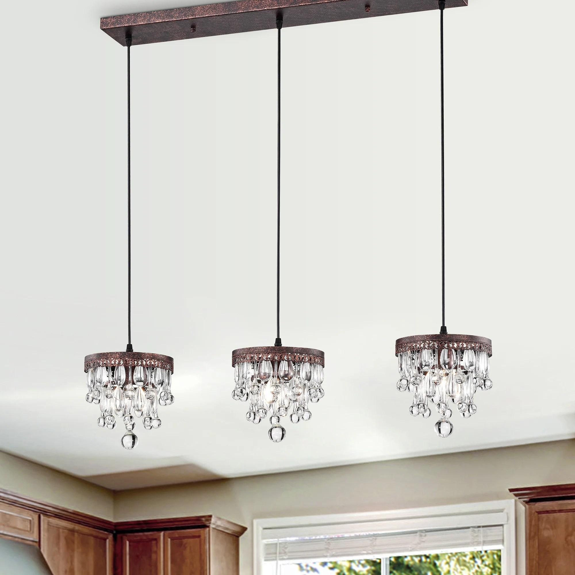 jerri antique copper 3 light 5 tier hanging crystals kitchen island pendant light