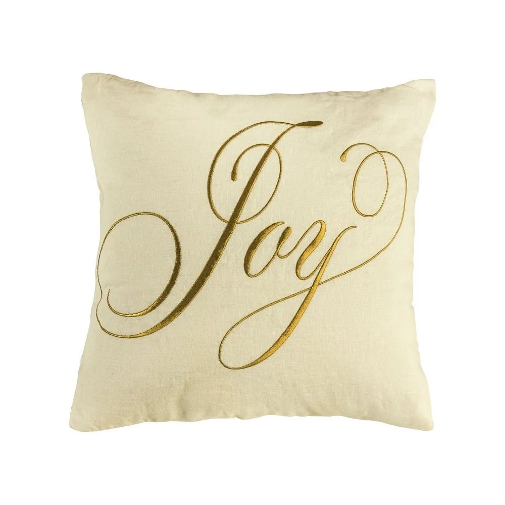 gold text joy holiday throw 20x20 inch pillow cover only gold embroidery colors gold embroidery