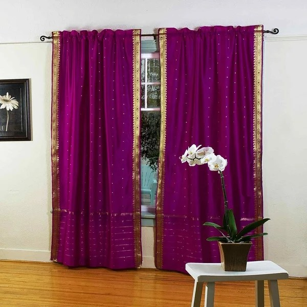 violet red 84 inch rod pocket sheer sari curtain panel india pair 43 x 84 inches 109 x 213 cms