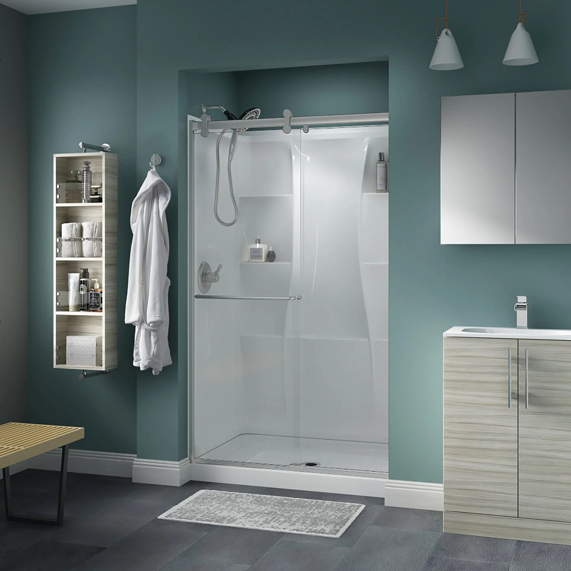 Delta Sd3957018 Classic 71 High X 47 3 8 Wide Sliding Frameless Shower Door With Clear Glass Nickel
