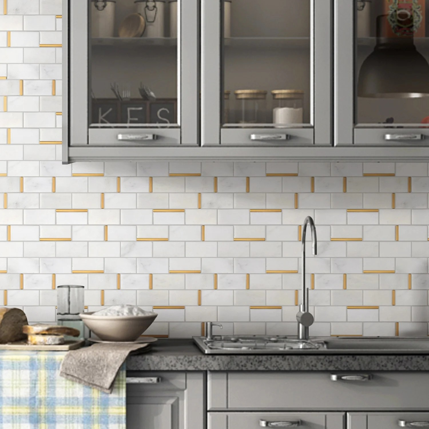 tilegen natural bianco 2 x 4 subway metal and marble mosaic tile in gold white wall tile 10 sheets 9 7sqft