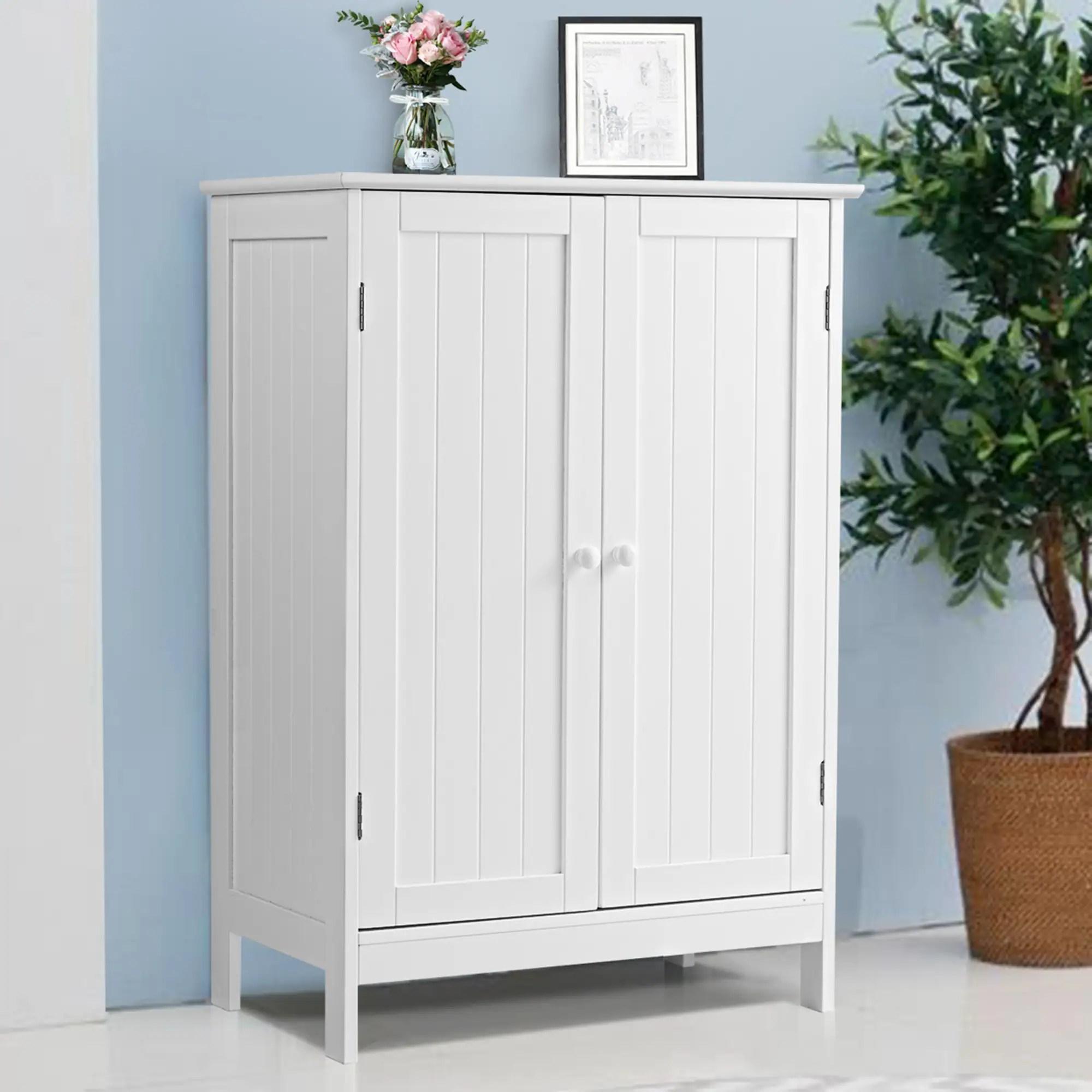 Bathroom Storage Cabinet With Double Doors Wooden Floor Shoe Cabinet Overstock 31291771