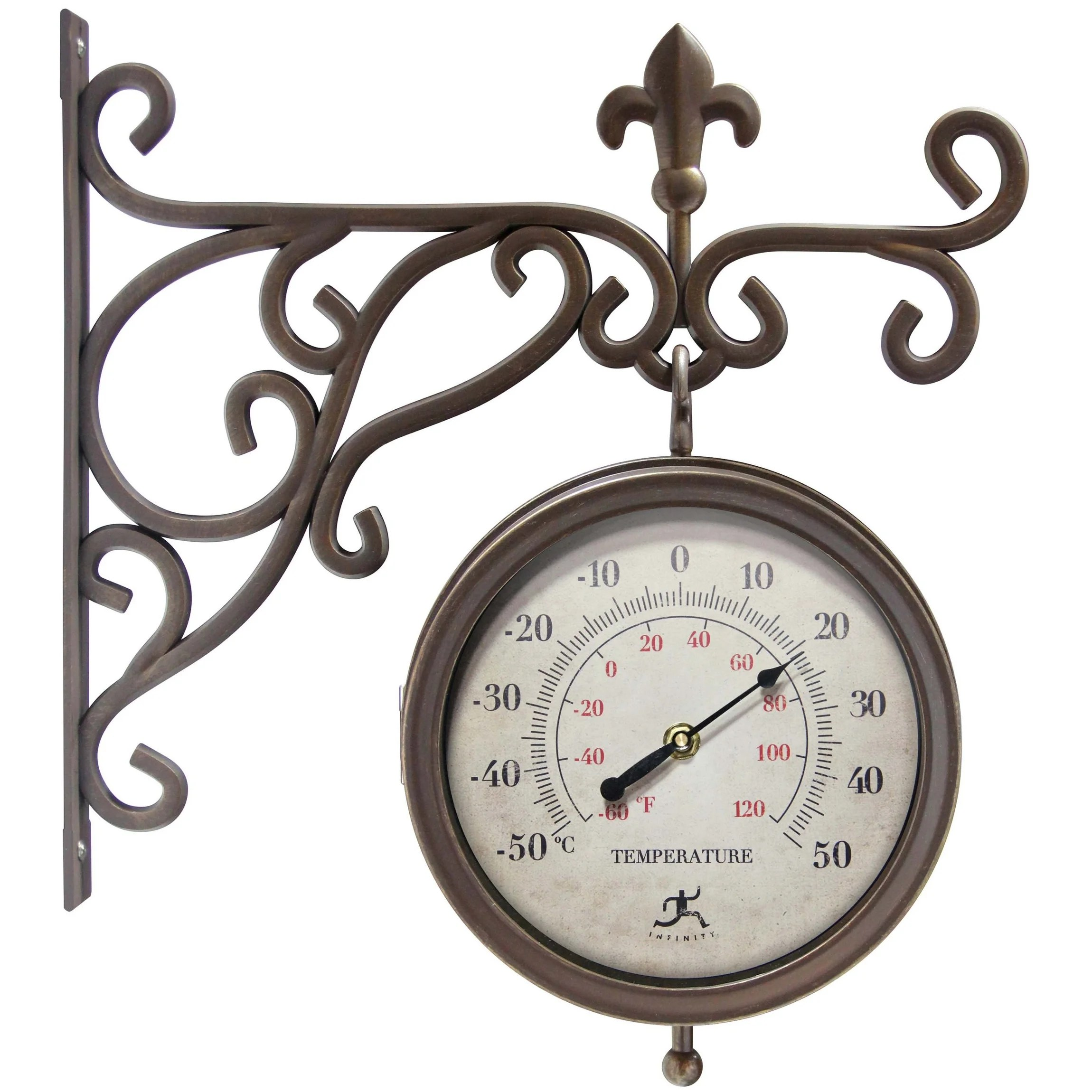 beauregard double sided clock and thermometer combo outdoor clock