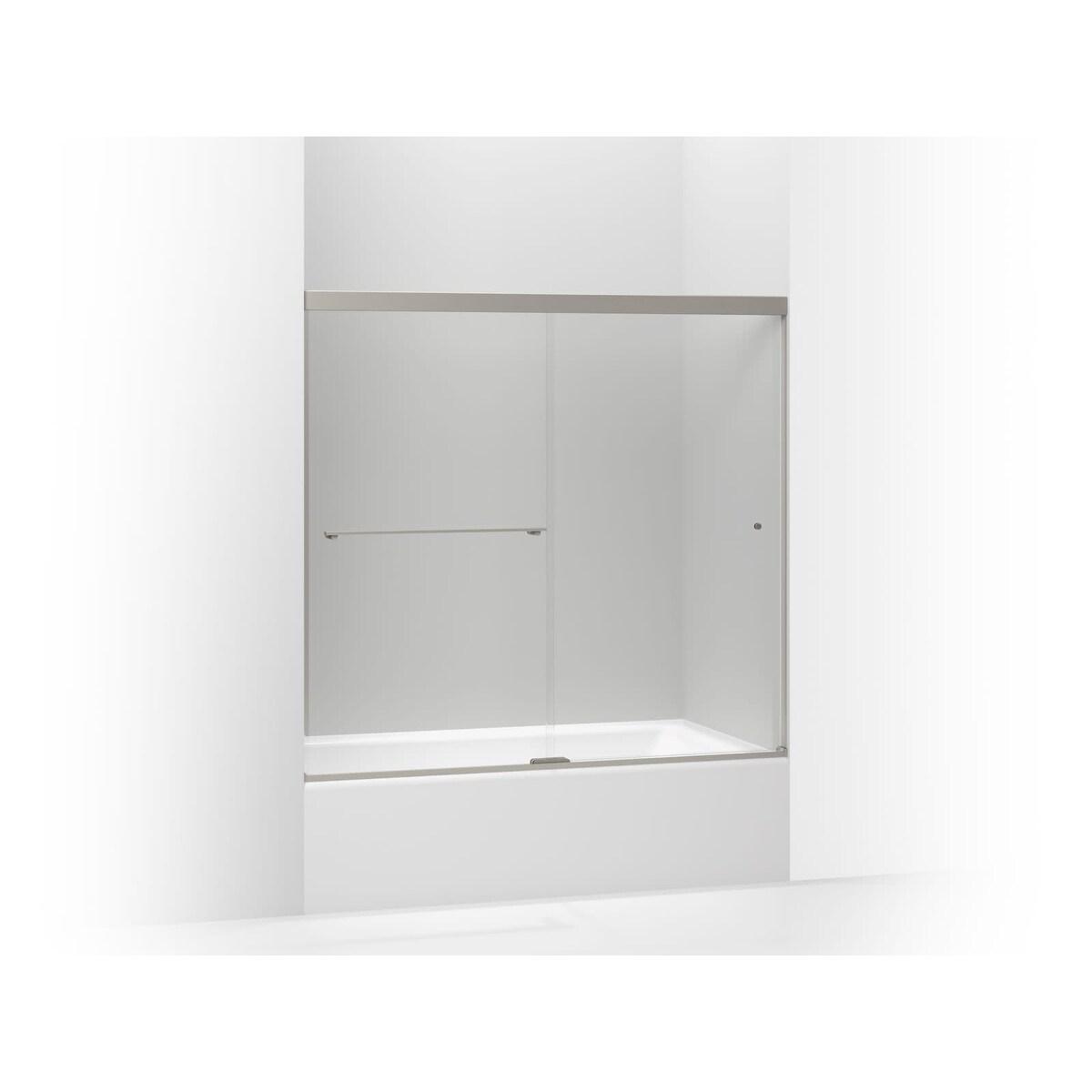 Kohler K 707000 L Revel Frameless Sliding 55 1 2 X 59 5 8 Shower Door With 1 4 Clear Glass Reversible Opening And Cleancoat