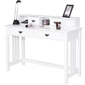 Buy White Desks   Computer Tables Online at Overstock com   Our Best     Costway Writing Desk Mission White Home Office Computer Desk 4 Drawer White