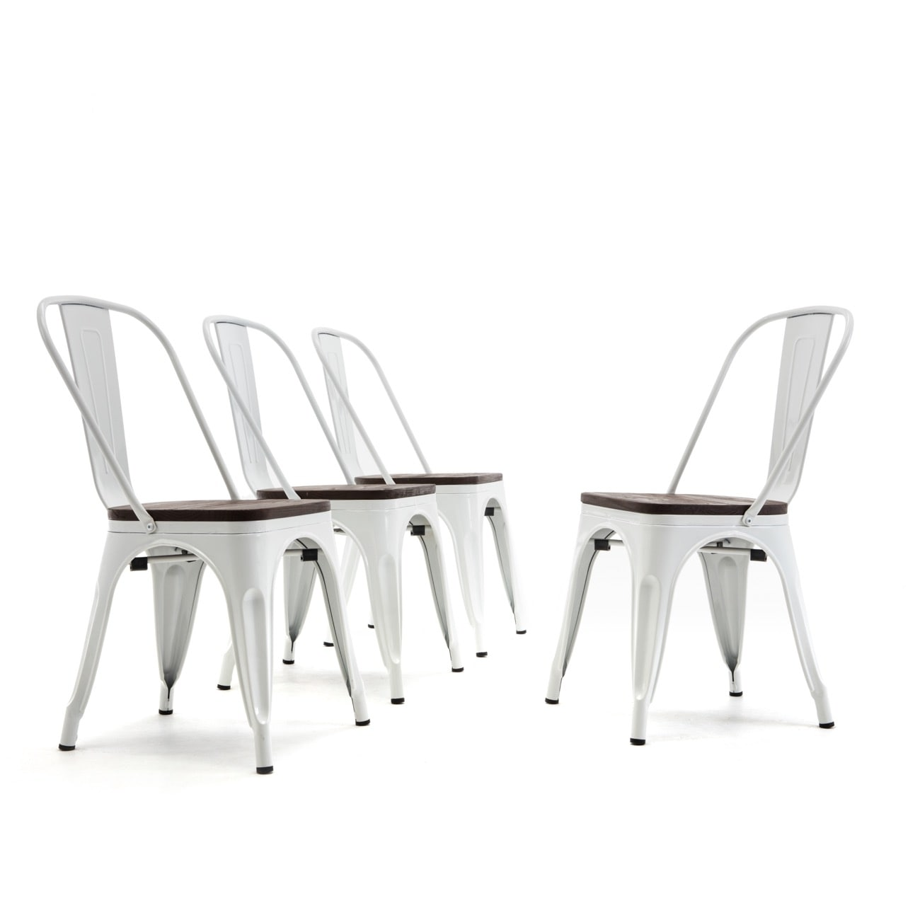 Belleze Set Of 4 Metal Chair W Wood Seat Modern Industrial Stackable Bistro Dining Chairs White