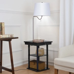 Gymax Floor Lamp Swing Arm Lamp Built In End Table W Shade 2 Usb Ports Living Room
