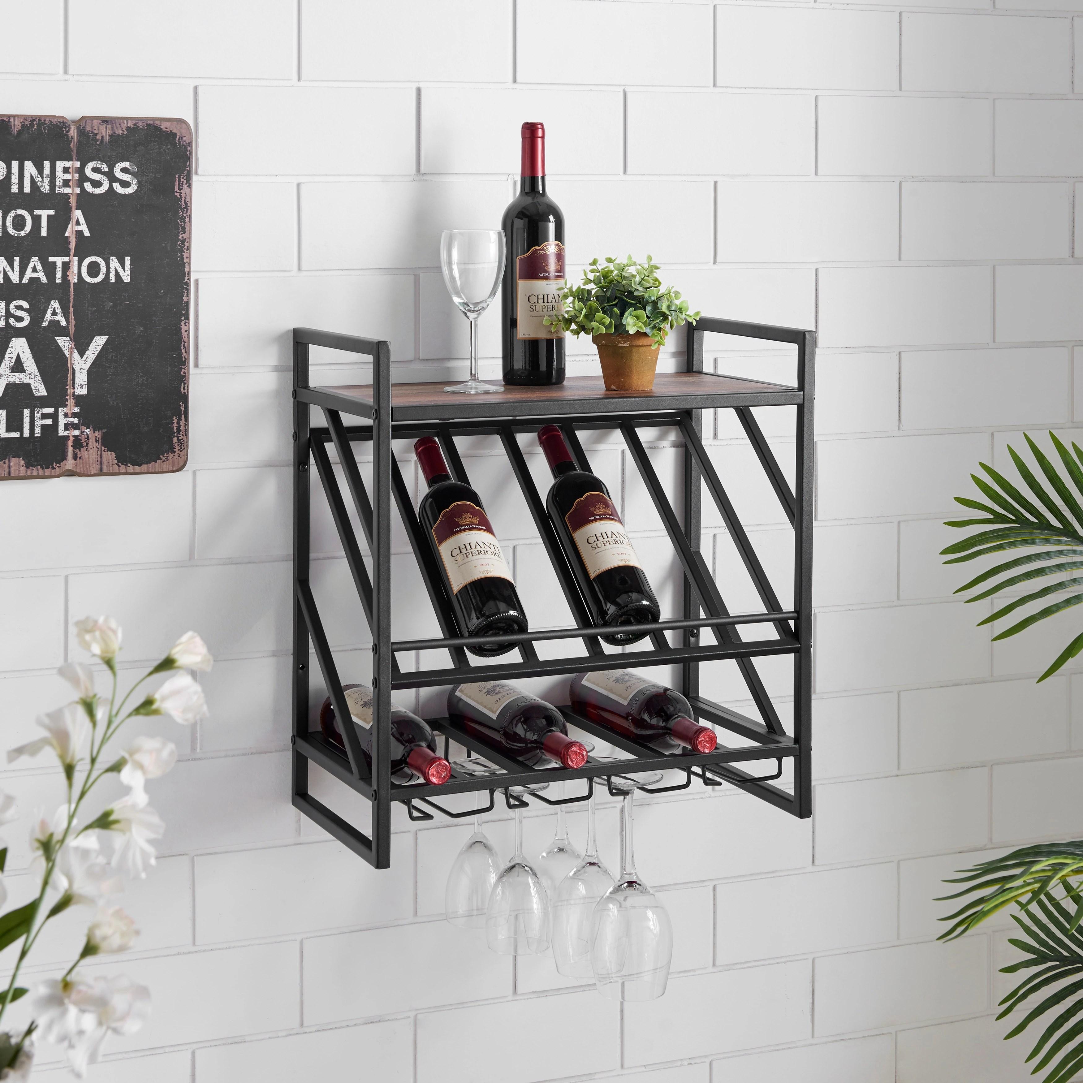 industrial wall mount metal wine rack with shelf and stemware rack