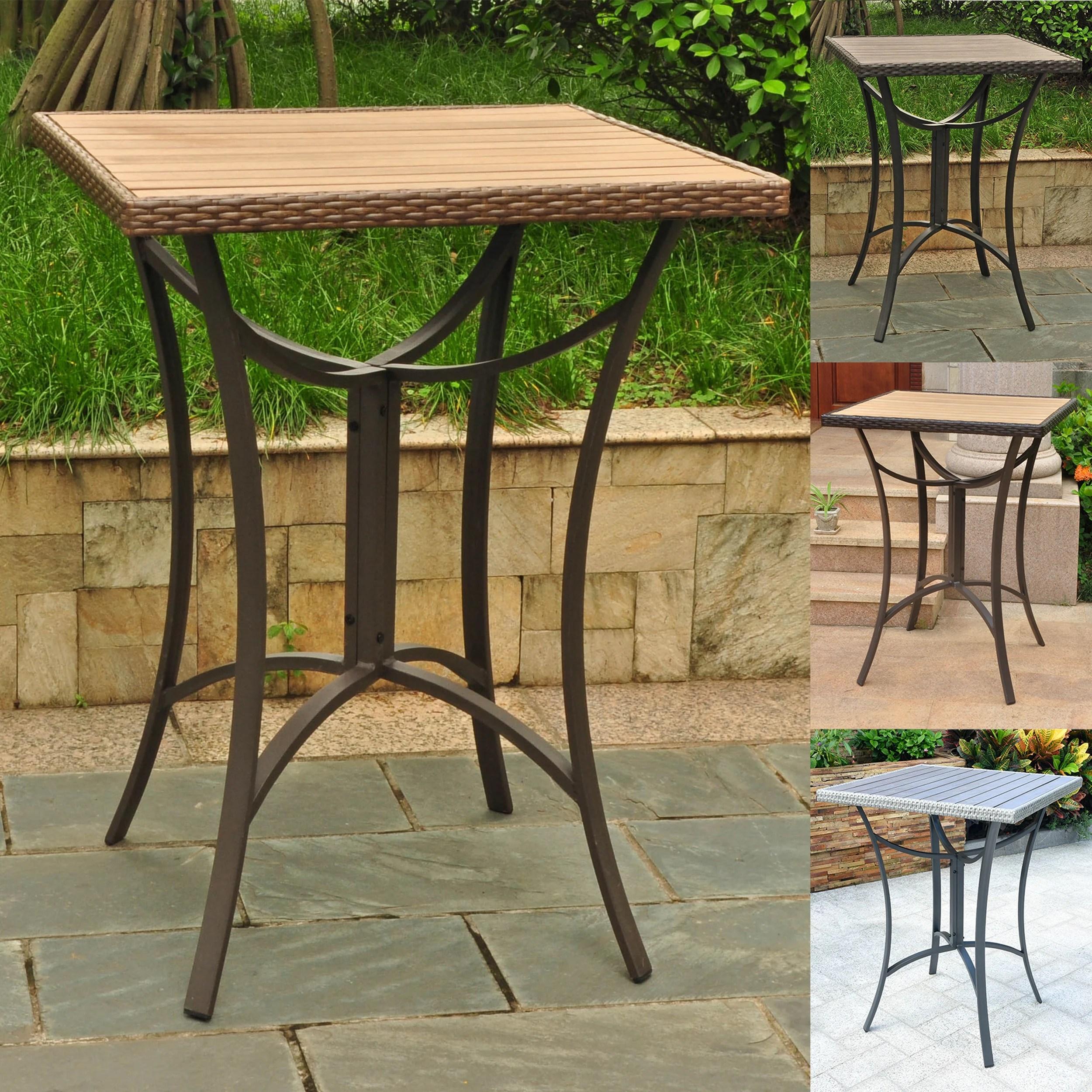international caravan barcelona resin wicker aluminum 32 inch square outdoor bar table