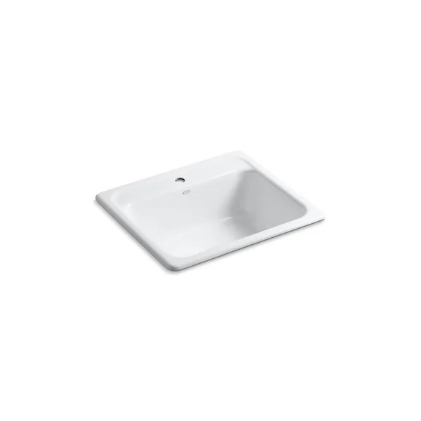 kohler mayfield 25 x 22 x 8 3 4 top mount single bowl kitchen sink with single faucet hole white k 5964 1 0