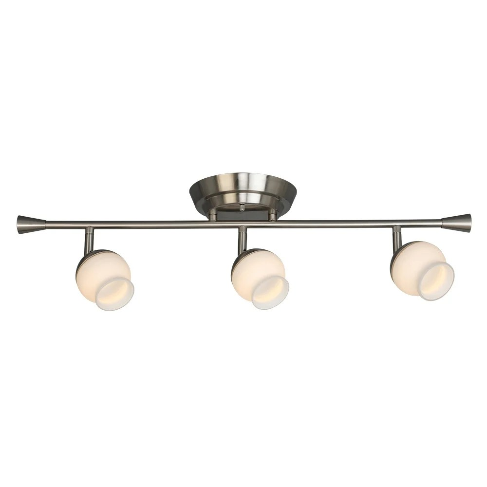 eglo mill street 3 light brushed nickel led semi flush mount track lighting with frosted glass