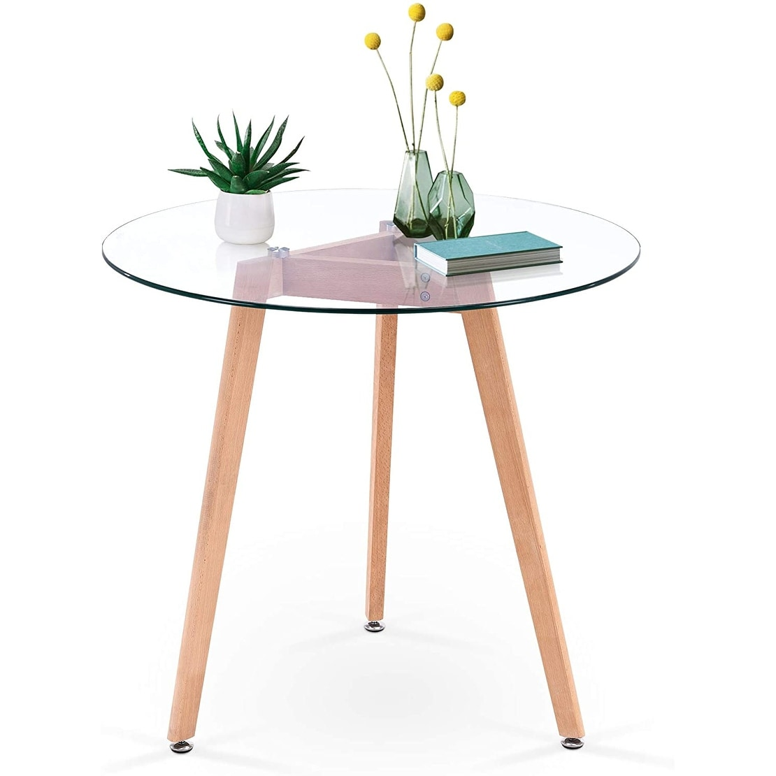 ivinta modern small dining table round glass coffee table farmhouse kitchen table for small spaces accent table sofa table