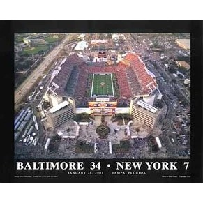 Shop Baltimore 34 New York 7 Super Bowl XXXV Tampa Florida By Mike Smith Stadiums Art