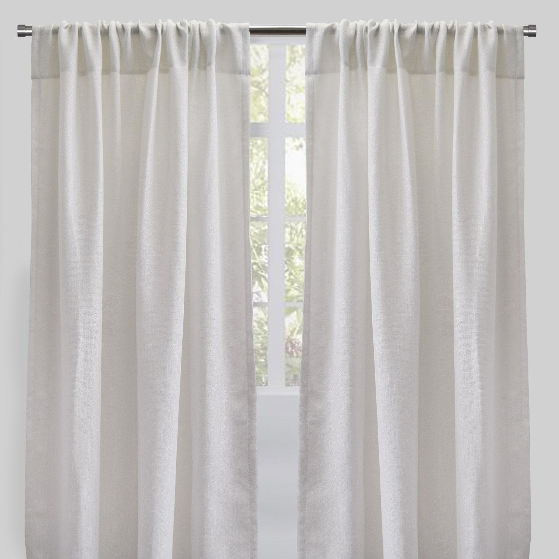 rodeo home ziana linen look metallic sheer curtains set of 2 54 x 96