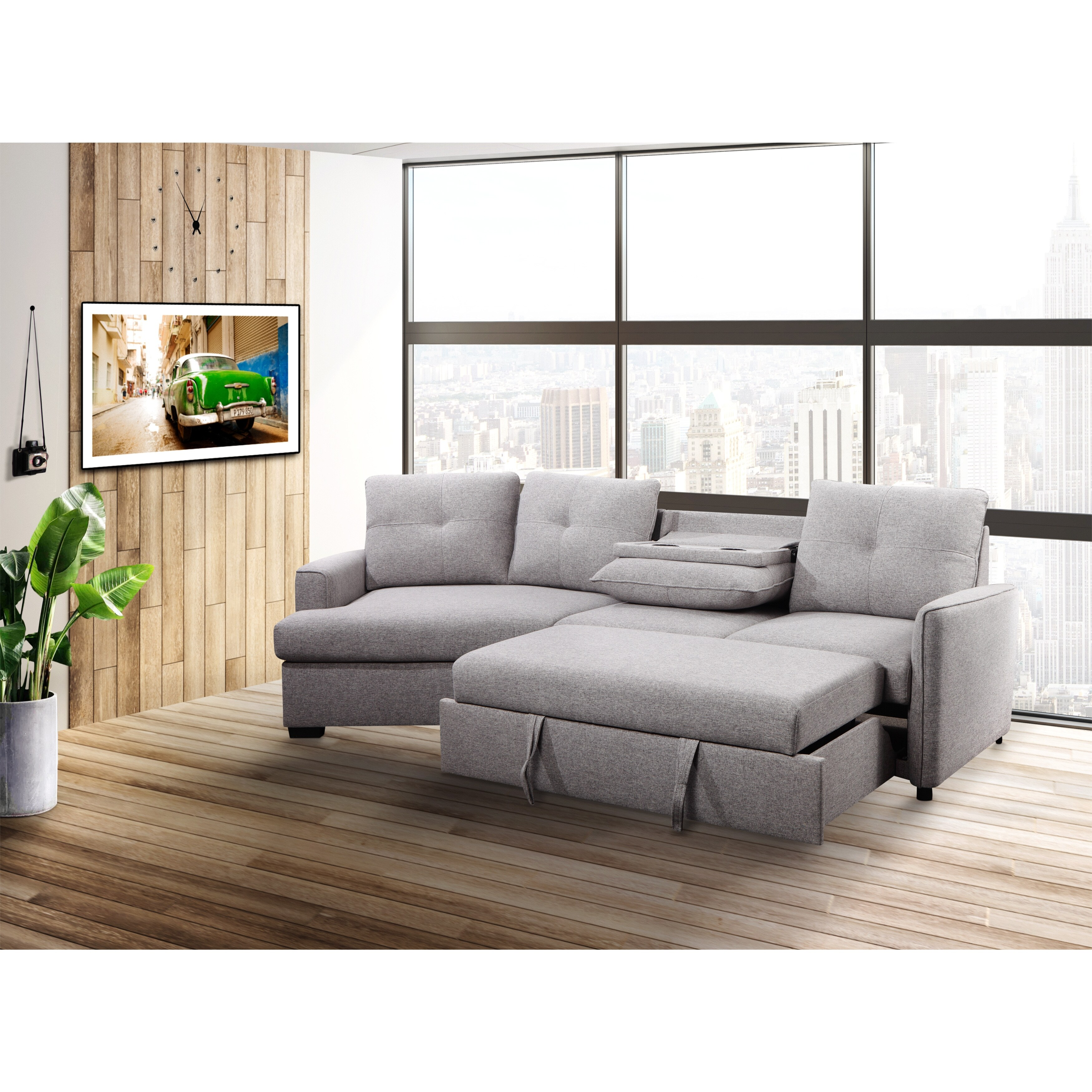 bilo modern grey tufted home theater sectional sofa bed