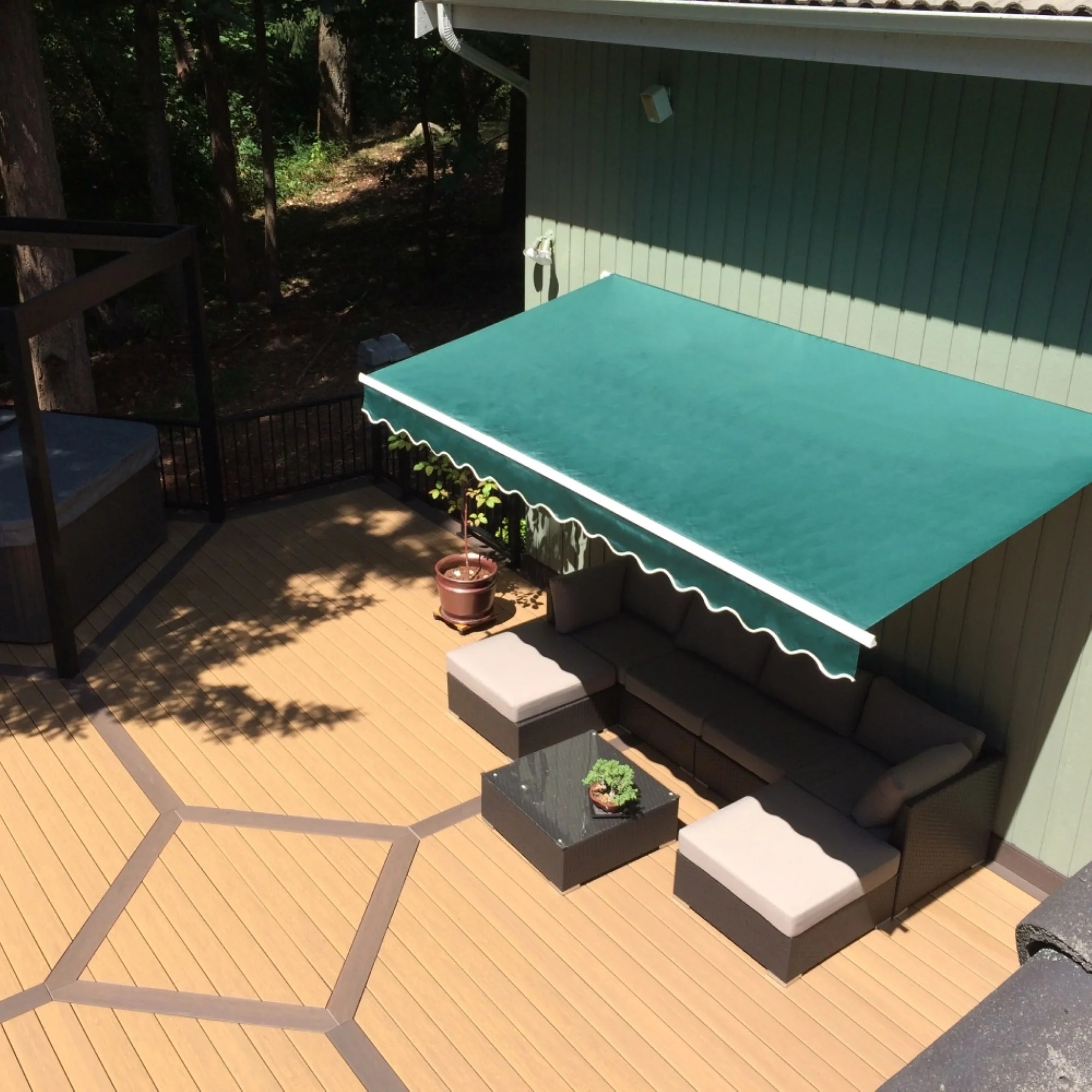 aleko 10x8 feet retractable outdoor patio awning deck sunshade green