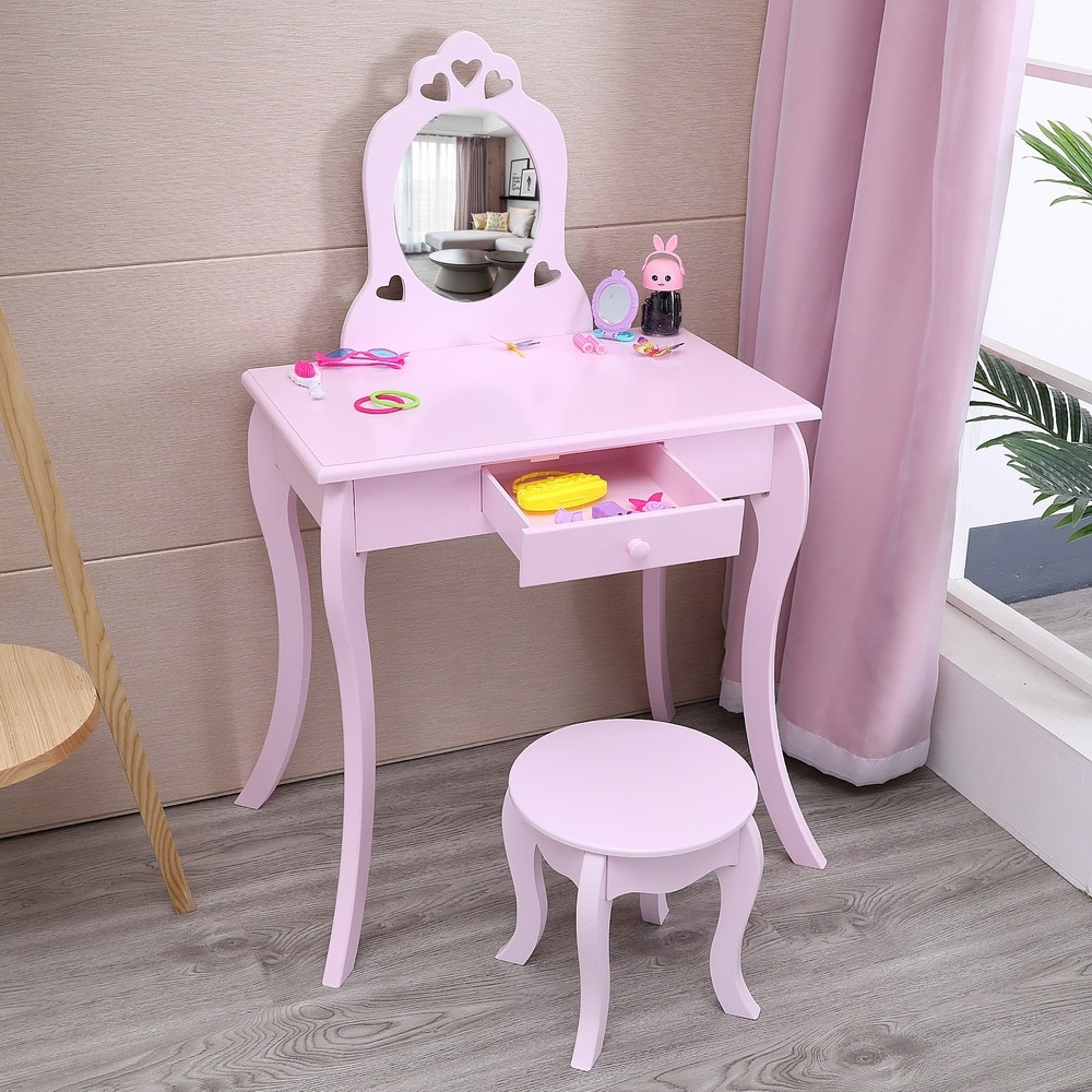 26 kids vanity table set princess wooden dressing table and chair set
