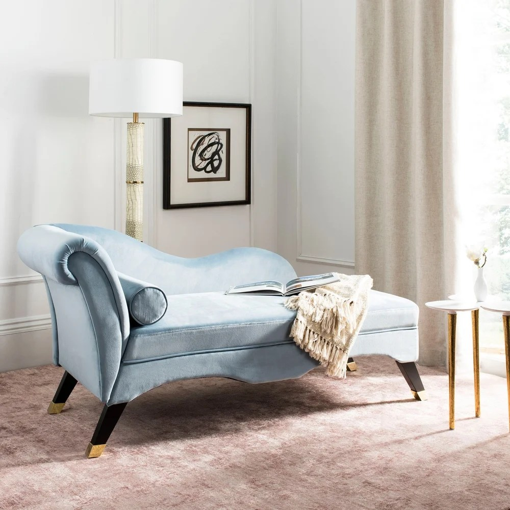 Safavieh Caiden Slate Blue/ Black Chaise - dealepic on Safavieh Raldin  id=19371