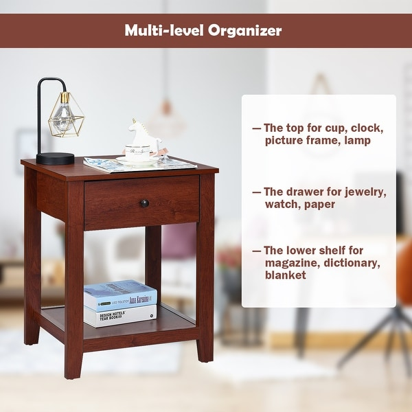 costway set of 2 night stand end side