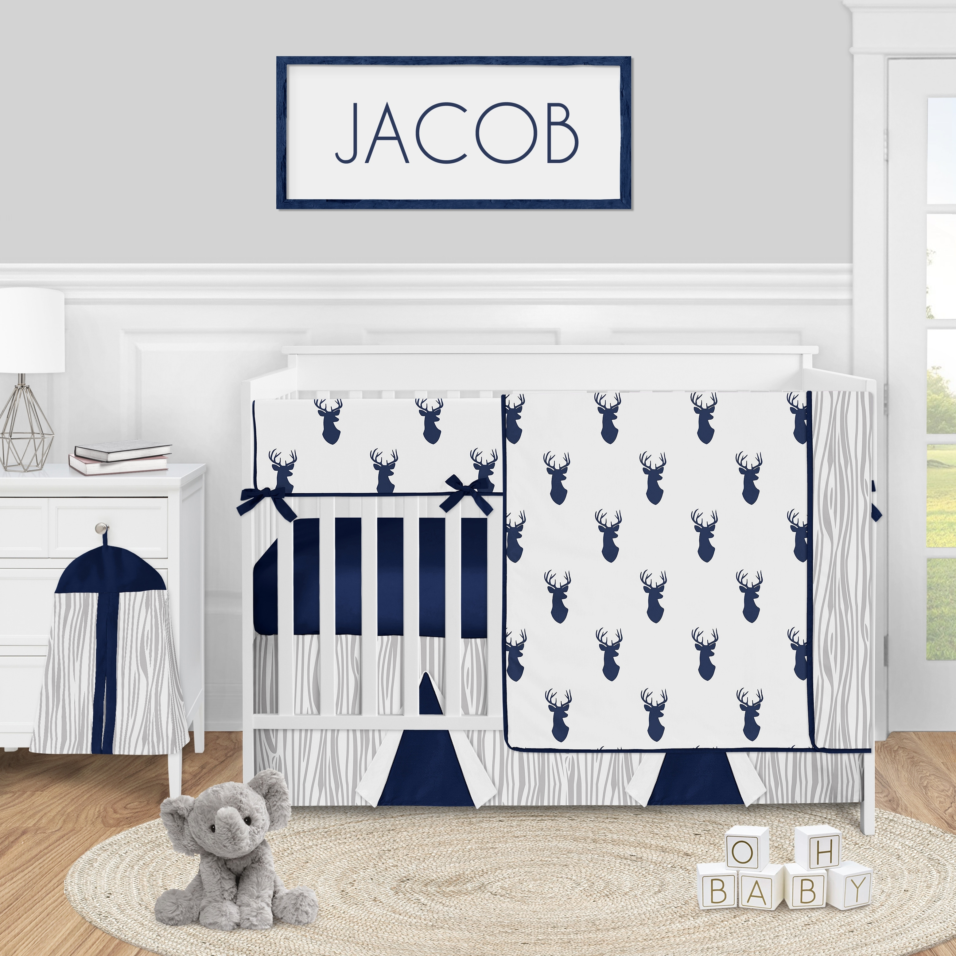 woodland deer collection boy 5 piece nursery crib bedding set navy blue and white stag