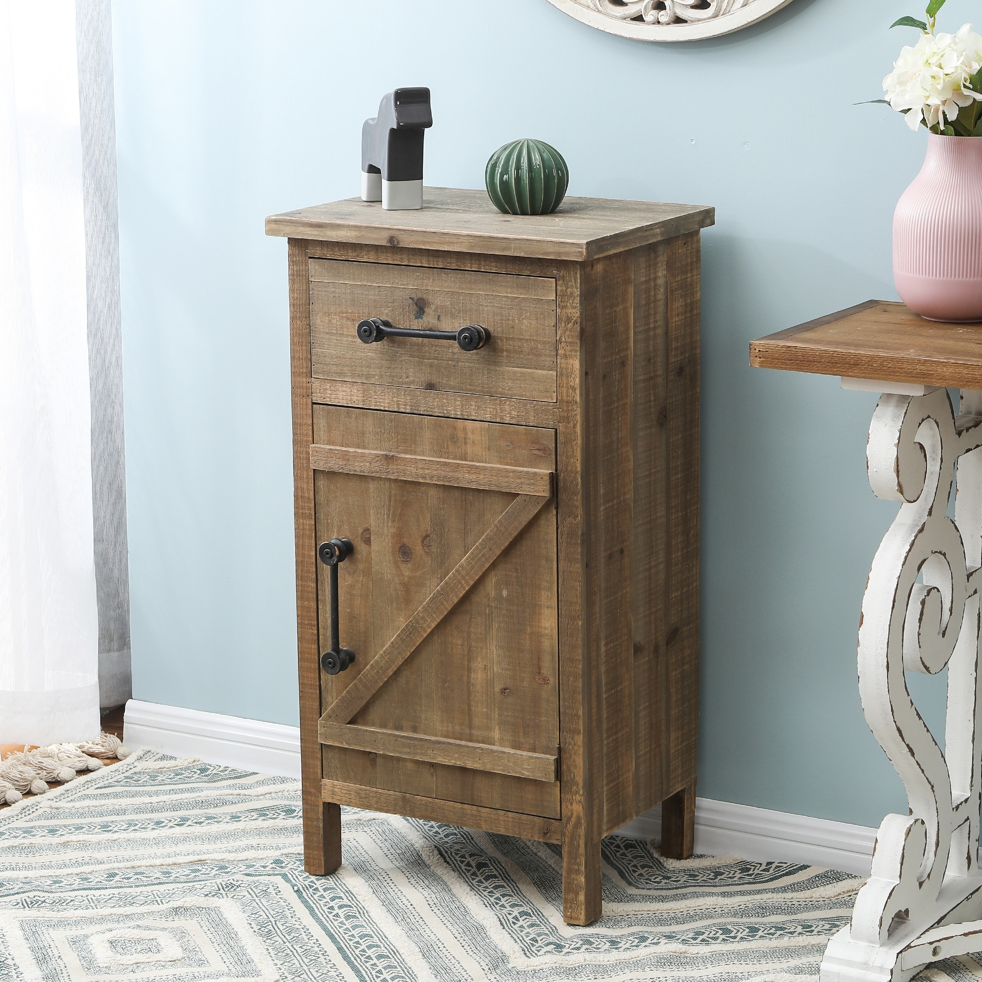 brown wood distressed small rustic end table