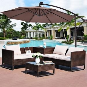 Patio Umbrellas   Shades   Shop our Best Garden   Patio Deals Online     Costway 10  Hanging Solar LED Umbrella Patio Sun Shade Offset Market W Base  Tan