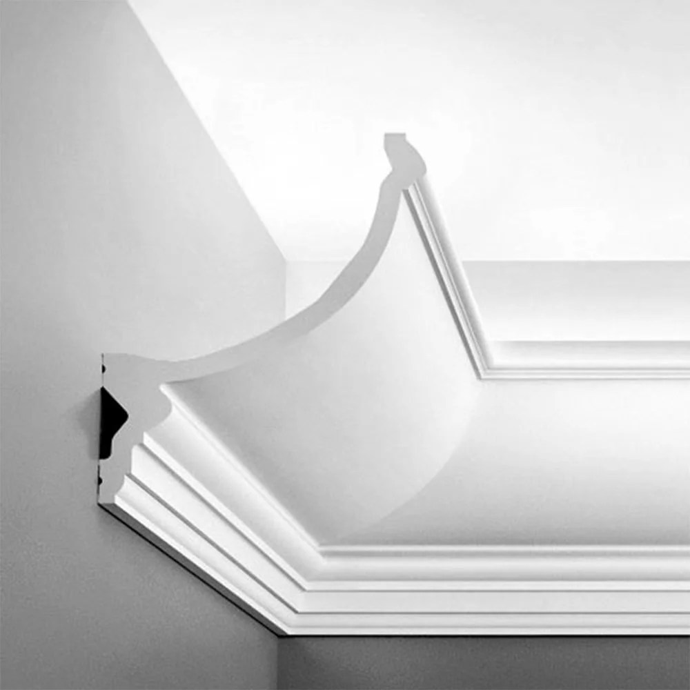 c900 orac decor high density polyurethane foam crown moulding for indirect lighting primed white face 8 5 8in x 78in long