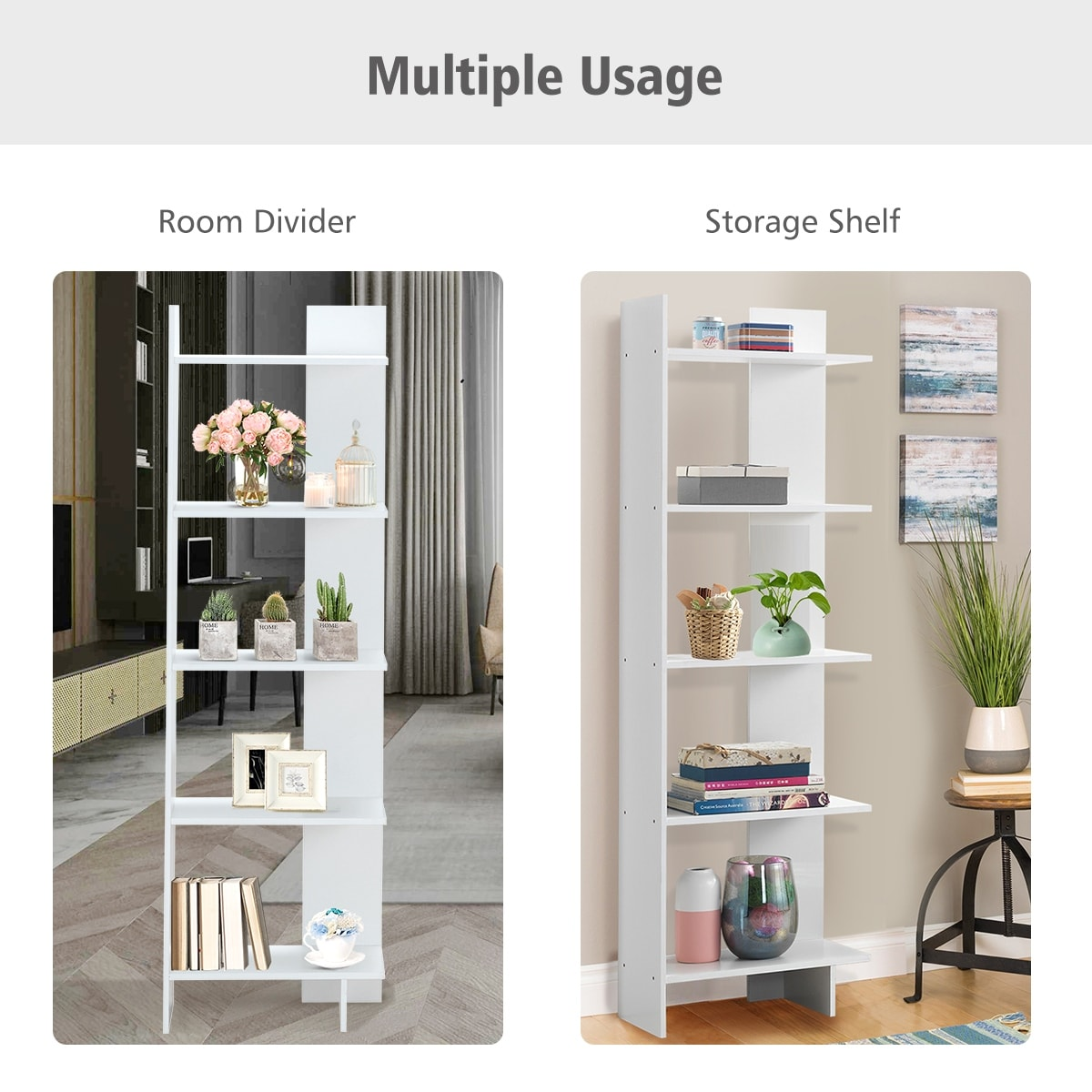 Costway 5 Tier Bookcase Storage Open Shelves Display Unit Room Divider
