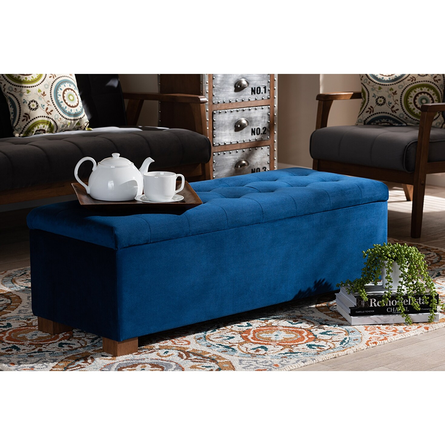 cooper navy blue velvet fabric grid tufted storage ottoman bench