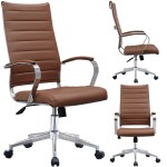 2xhome Modern Brown High Back Office Chair Ribbed Pu Leather Swivel Conference Room Computer Desk Visitor Vintage Retro Boss On Sale Overstock 15077920