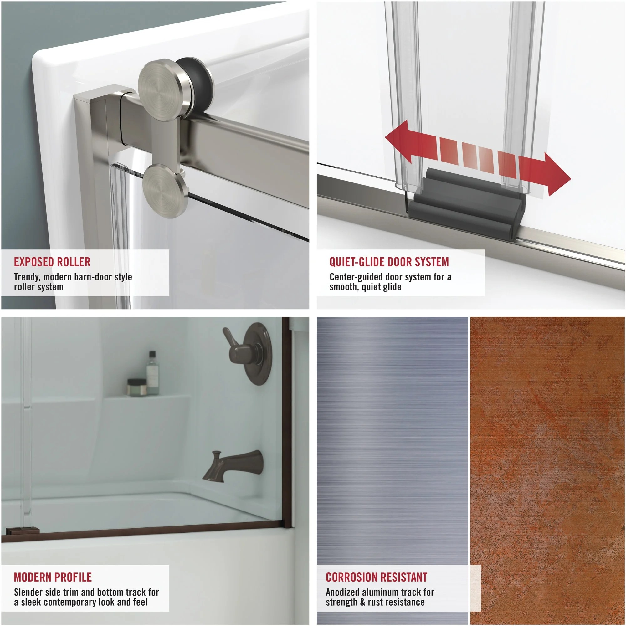 Delta Sd3172656 Windemere 71 High X 58 1 2 Wide Sliding Frameless Shower Door With Frosted Glass Bronze
