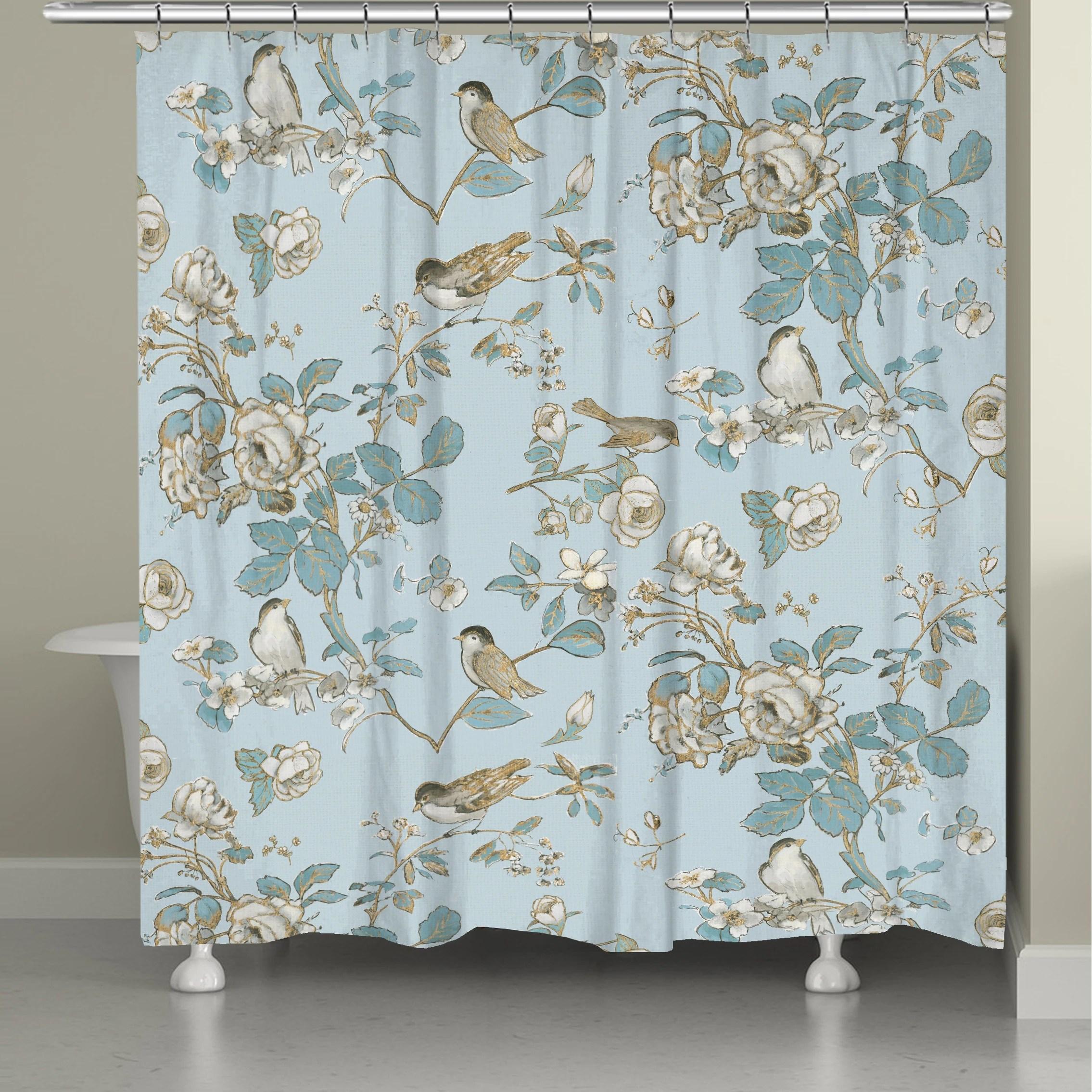 toile birds shower curtain