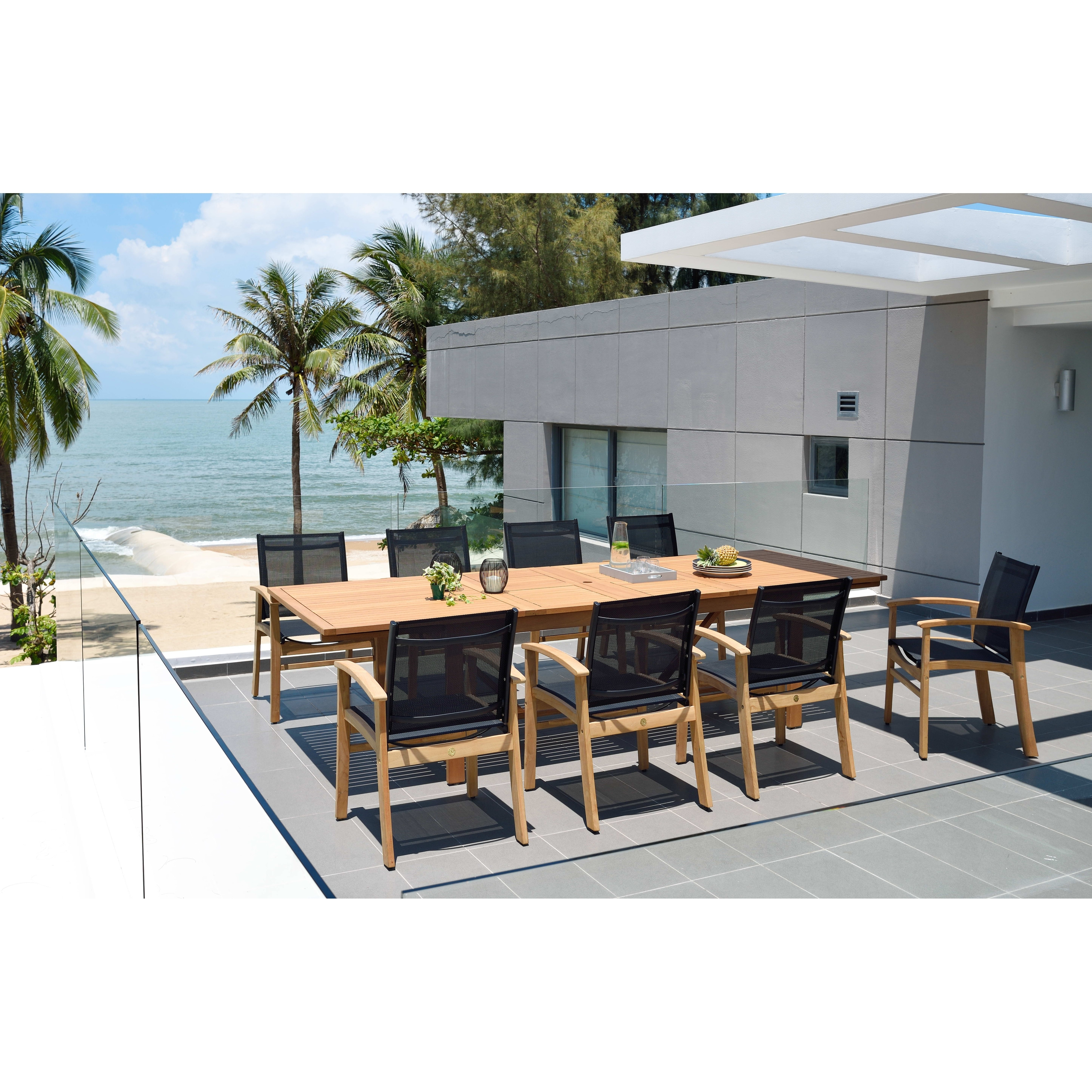 Shop Black Friday Deals On Life Style Garden 9 Piece Teak Finish Patio Dining Set Black Chairs Overstock 31027316