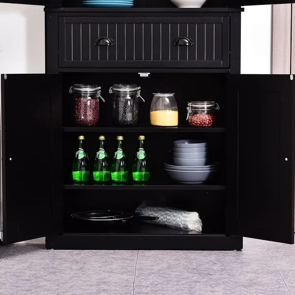 Homcom 72 Traditional Colonial Kitchen Pantry Cabinet With 2 Large Storage Areas Drawer And Adjustable Shelves Black On Sale Overstock 22200538
