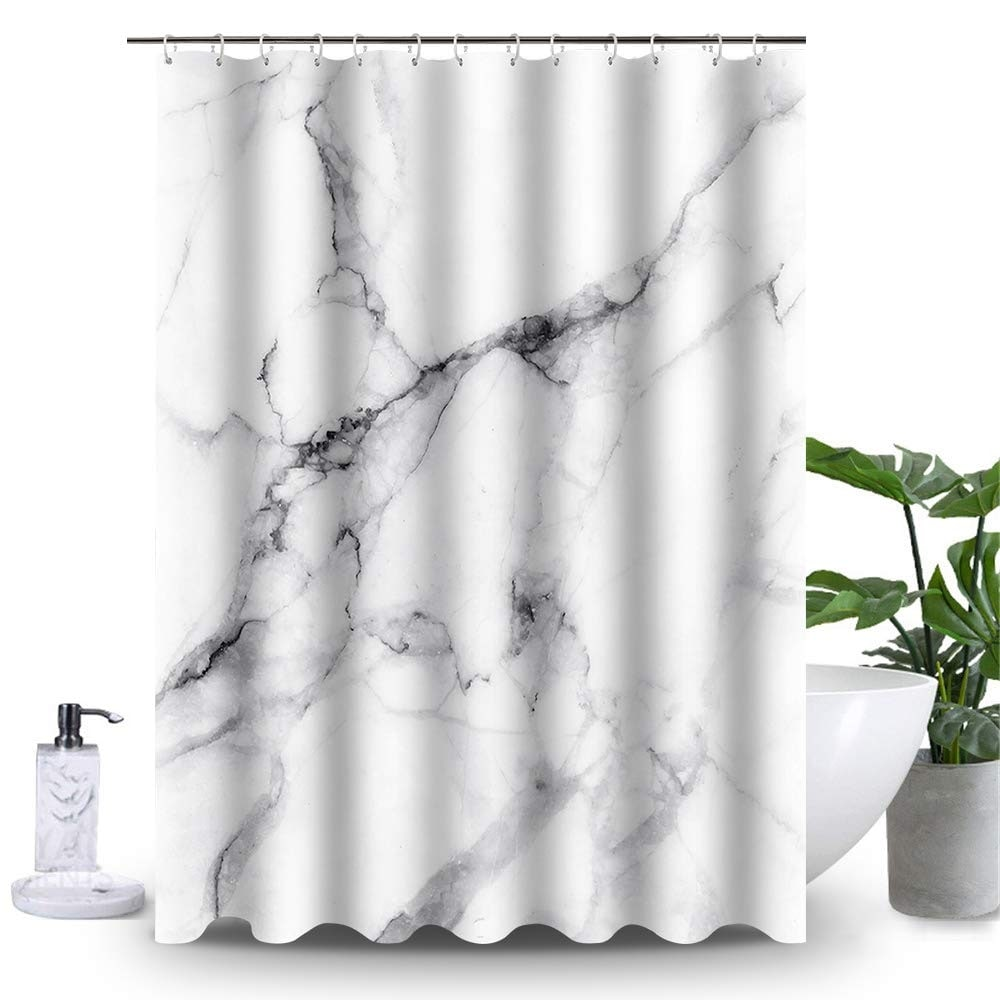 heavy duty white and grey fabric shower curtain