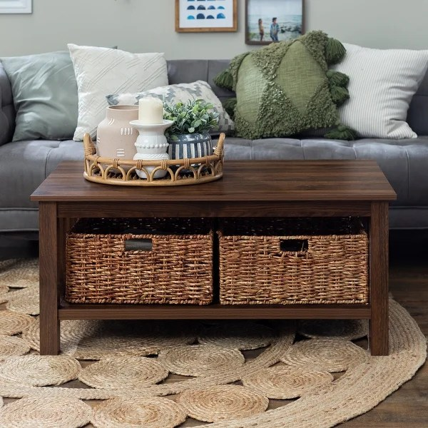 Shop 40 Inch Coffee Table With Wicker Storage Baskets Overstock 19267288 White Oak