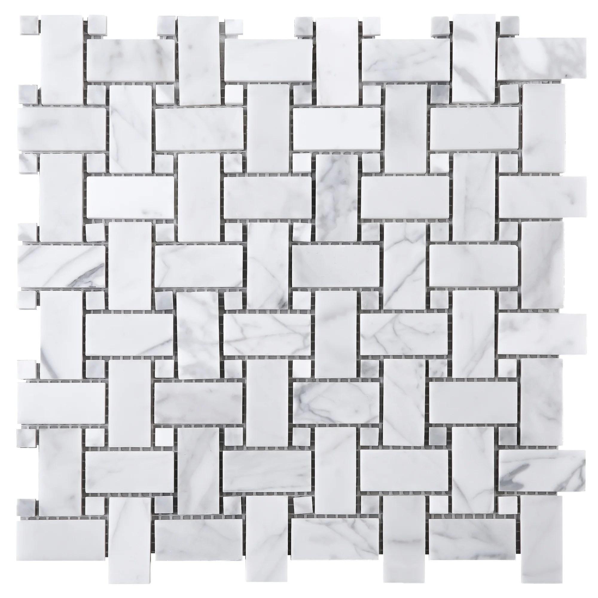 tilegen 1 x 2 basket weave white carrarra marble mosaic tile in white floor and wall tile 10 sheets 9 6sqft