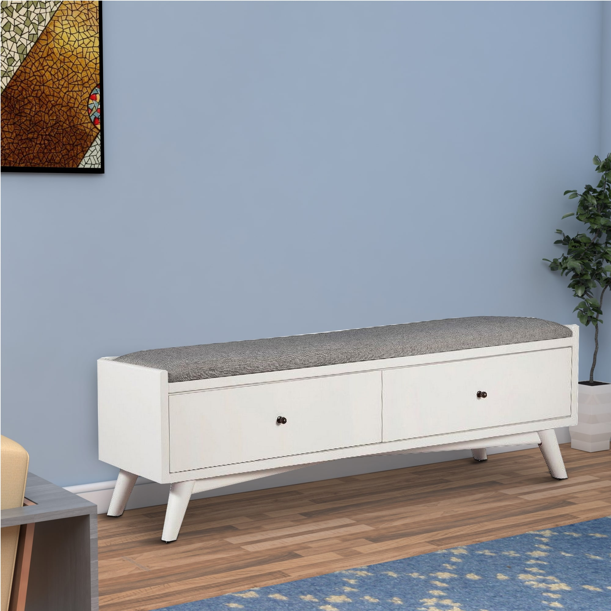 fabric upholstered bedroom bench with 2 storage drawers white